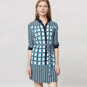 Maeve geometric shirt dress with tie waist - 4